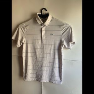 Under Armour heatgear polo shirt white stripped
